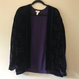 Chico's Purple Velvet Kimono Burnout Jacket